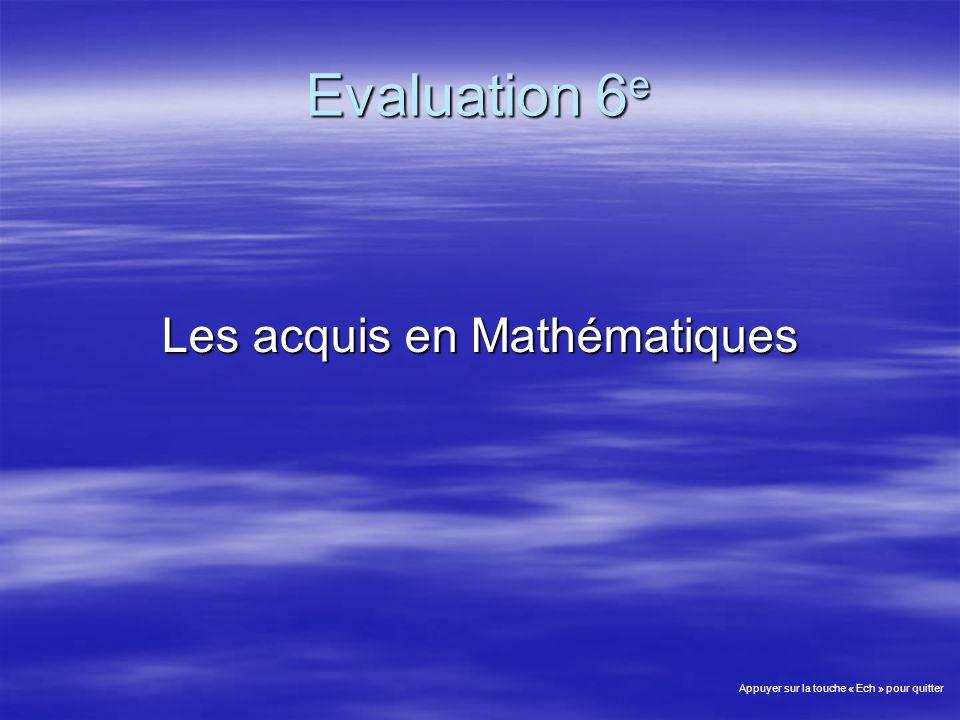 Evaluation 6 e Les acquis en Mathématiques Appuyer sur la touche « Ech » pour quitter