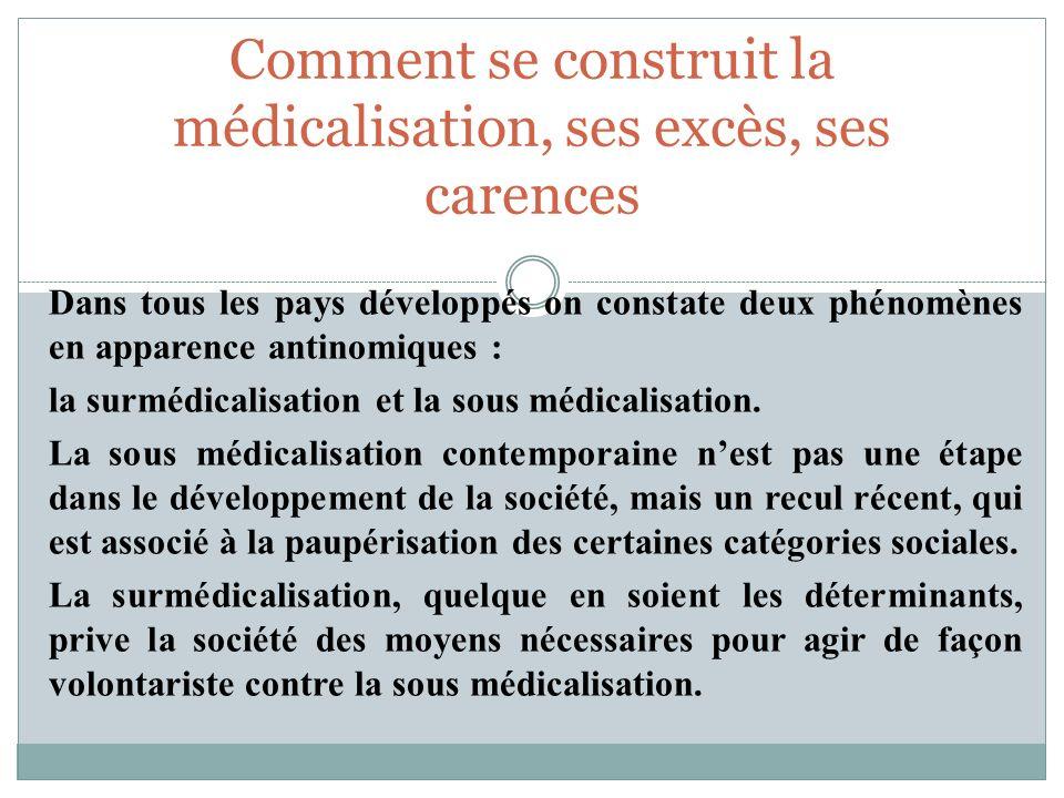 Dans tous les pays développés on constate deux phénomènes en apparence antinomiques : la surmédicalisation et la sous médicalisation. La sous médicali