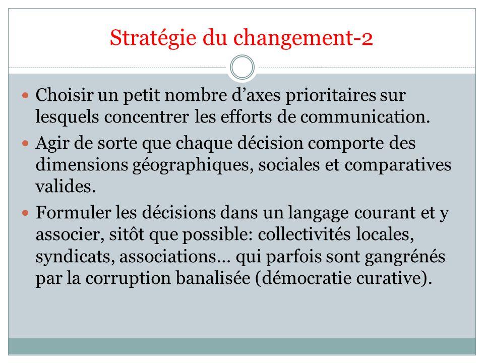 Stratégie du changement-2 Choisir un petit nombre daxes prioritaires sur lesquels concentrer les efforts de communication. Agir de sorte que chaque dé