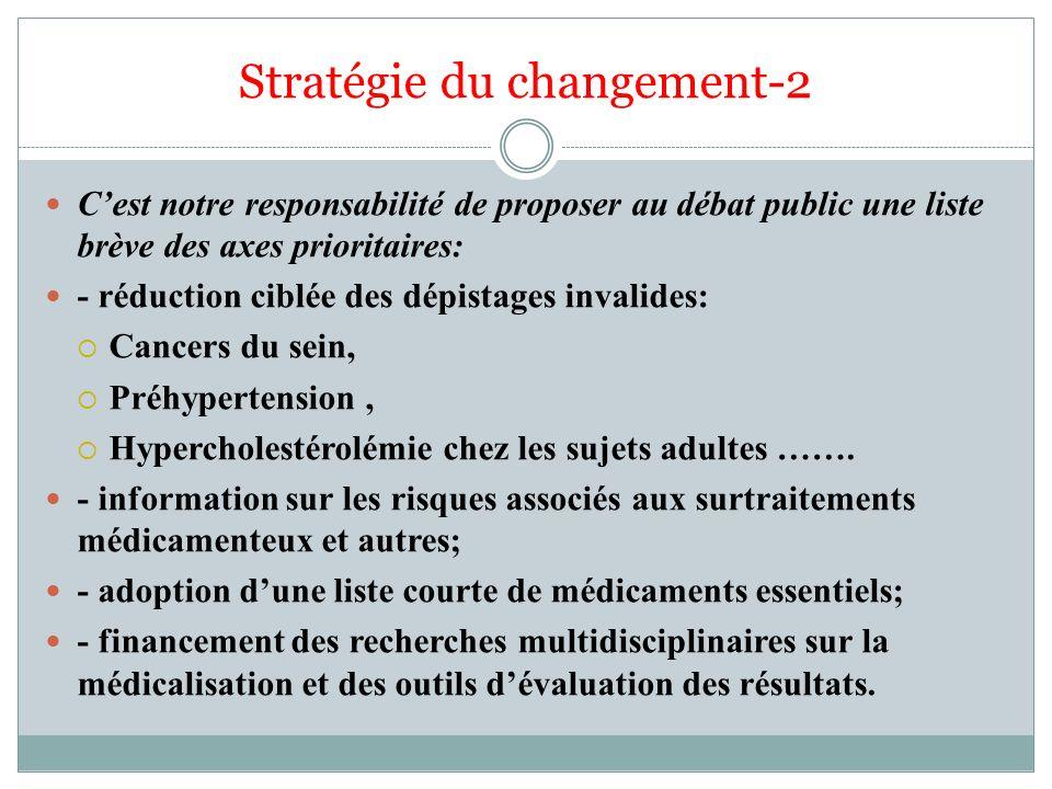 Stratégie du changement-2 Cest notre responsabilité de proposer au débat public une liste brève des axes prioritaires: - réduction ciblée des dépistag