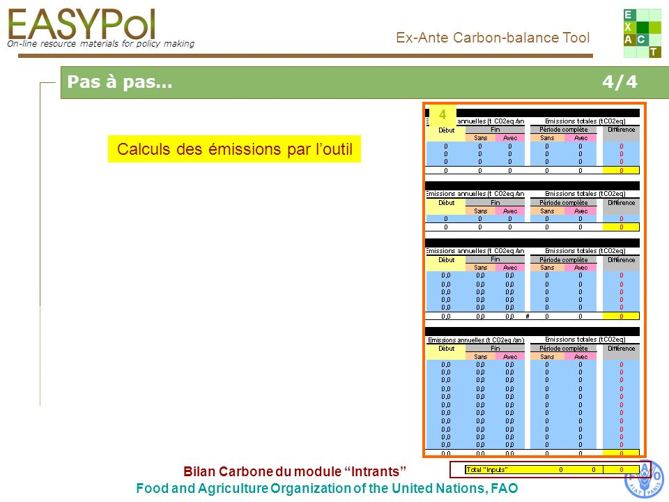 On-line resource materials for policy making Ex-Ante Carbon-balance Tool Food and Agriculture Organization of the United Nations, FAO Calculs des émissions par loutil 4 Bilan Carbone du module Intrants Pas à pas…4/4