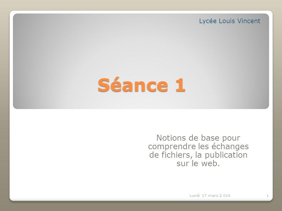 Séance 1 Notions de base pour comprendre les échanges de fichiers, la publication sur le web.