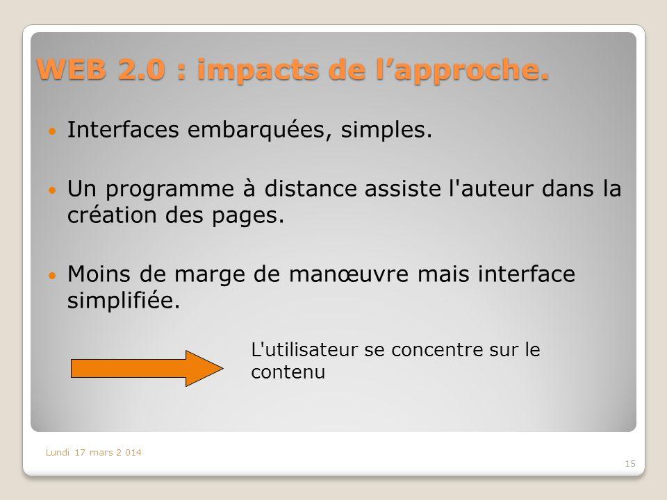 WEB 2.0 : impacts de lapproche.Interfaces embarquées, simples.