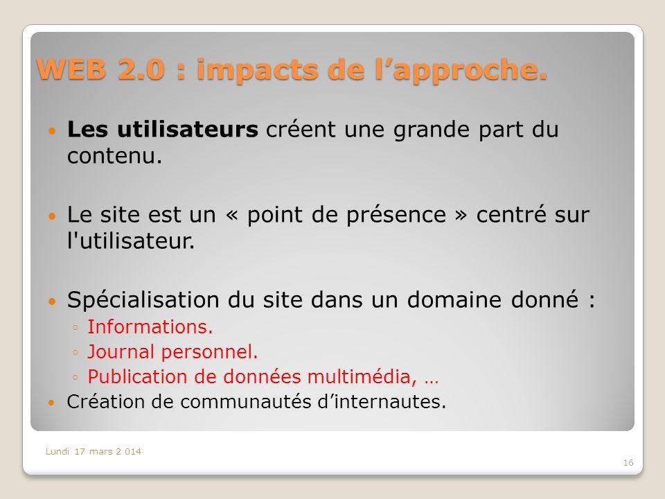 WEB 2.0 : impacts de lapproche.Les utilisateurs créent une grande part du contenu.