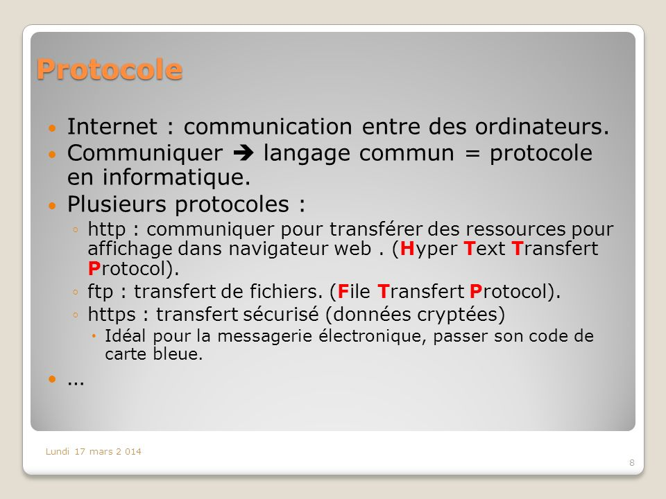 Protocole Internet : communication entre des ordinateurs.