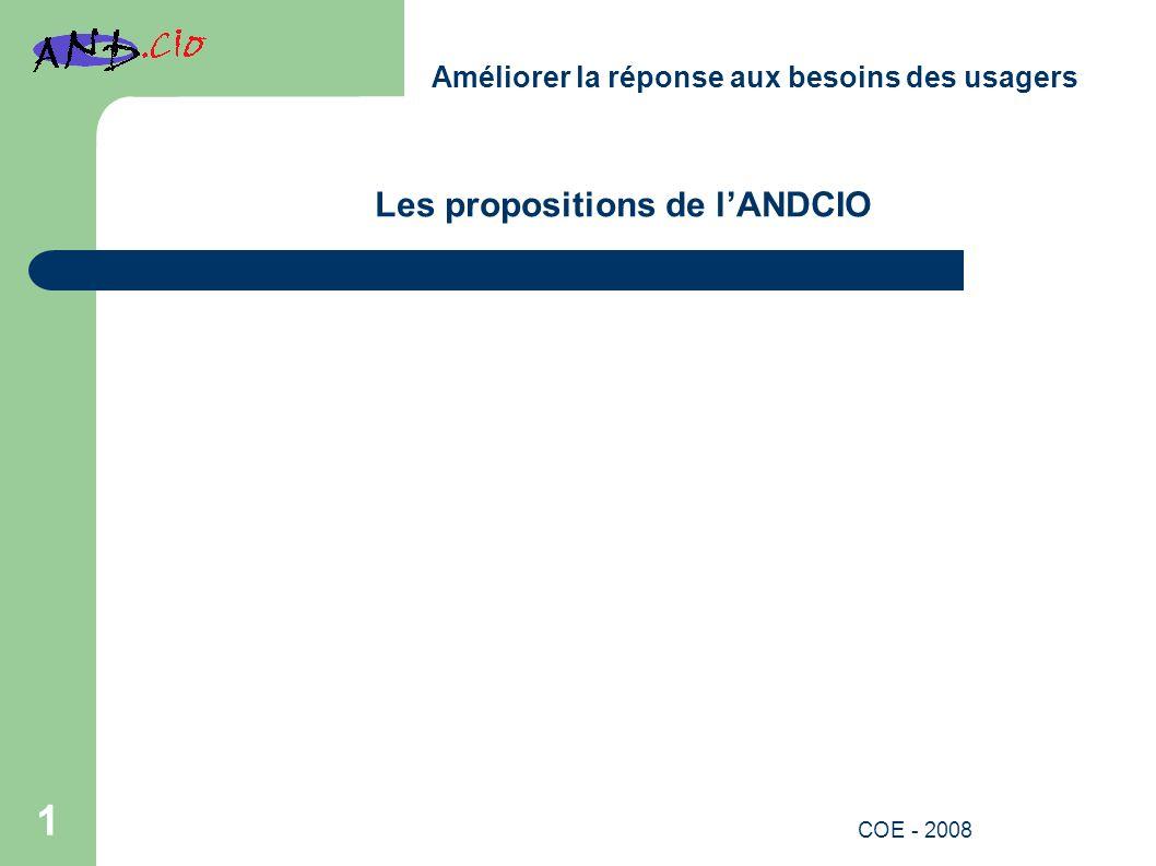 Les propositions de lANDCIO Améliorer la réponse aux besoins des usagers 1 COE - 2008