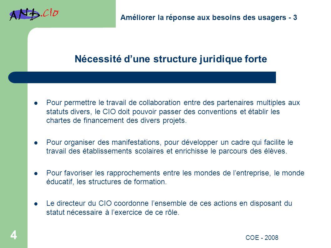 Nécessité dune structure juridique forte Pour permettre le travail de collaboration entre des partenaires multiples aux statuts divers, le CIO doit pouvoir passer des conventions et établir les chartes de financement des divers projets.