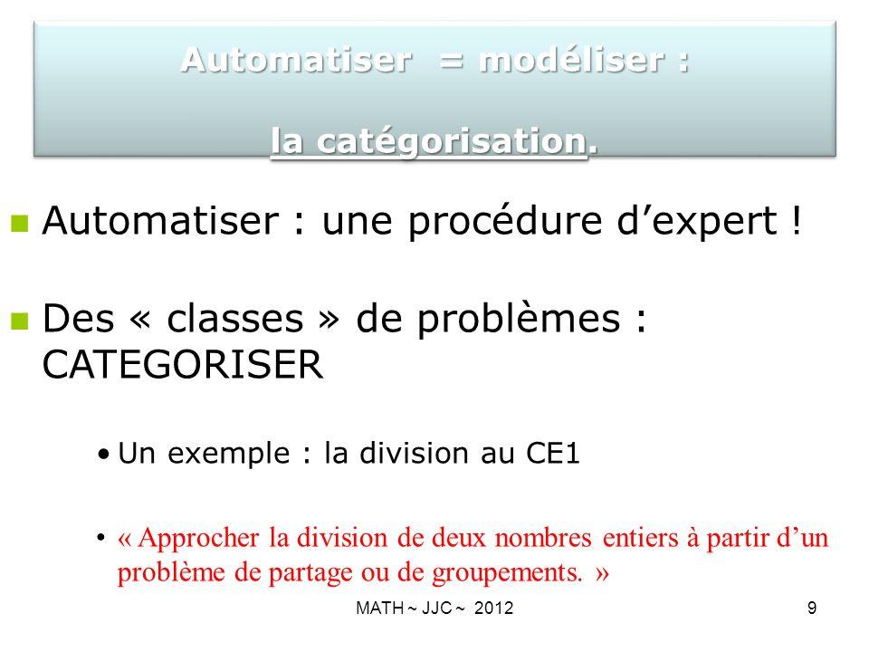 MATH ~ JJC ~ 20129 Automatiser : une procédure dexpert .