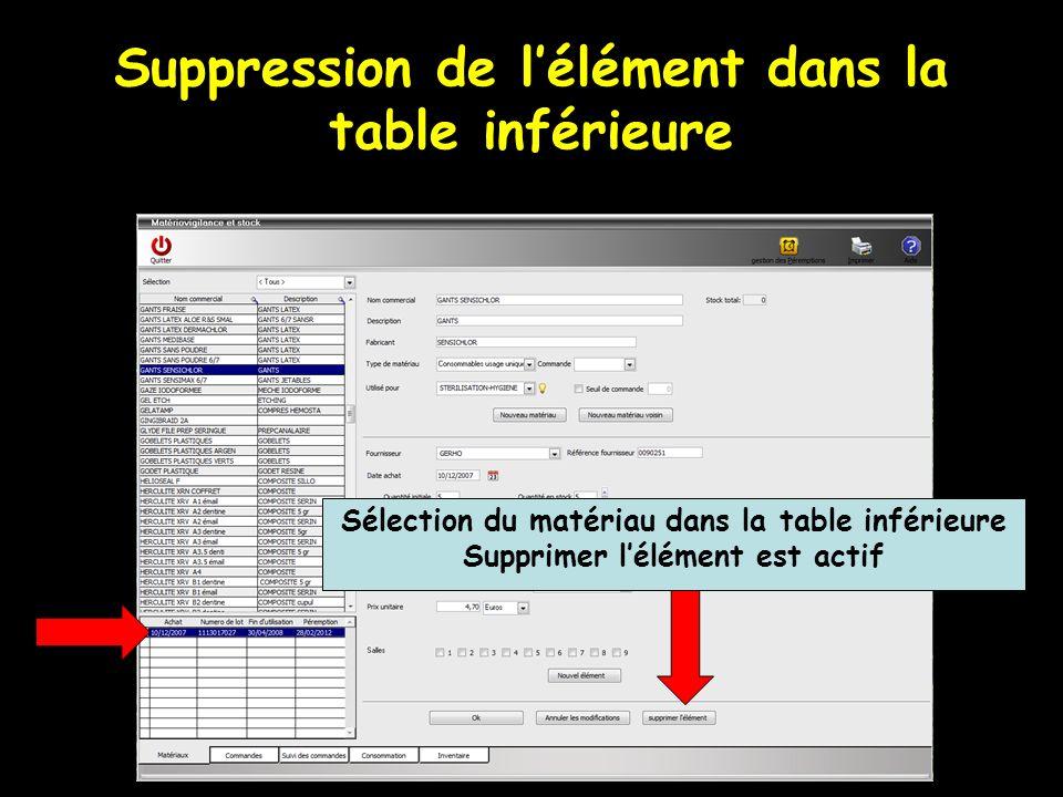 Suppression de lélément dans la table inférieure Sélection du matériau dans la table inférieure Supprimer lélément est actif