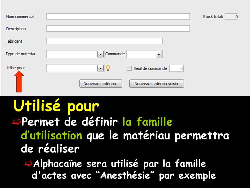 Utilisé pour Permet de définir la famille dutilisation que le matériau permettra de réaliser Alphacaïne sera utilisé par la famille d actes avec Anesthésie par exemple