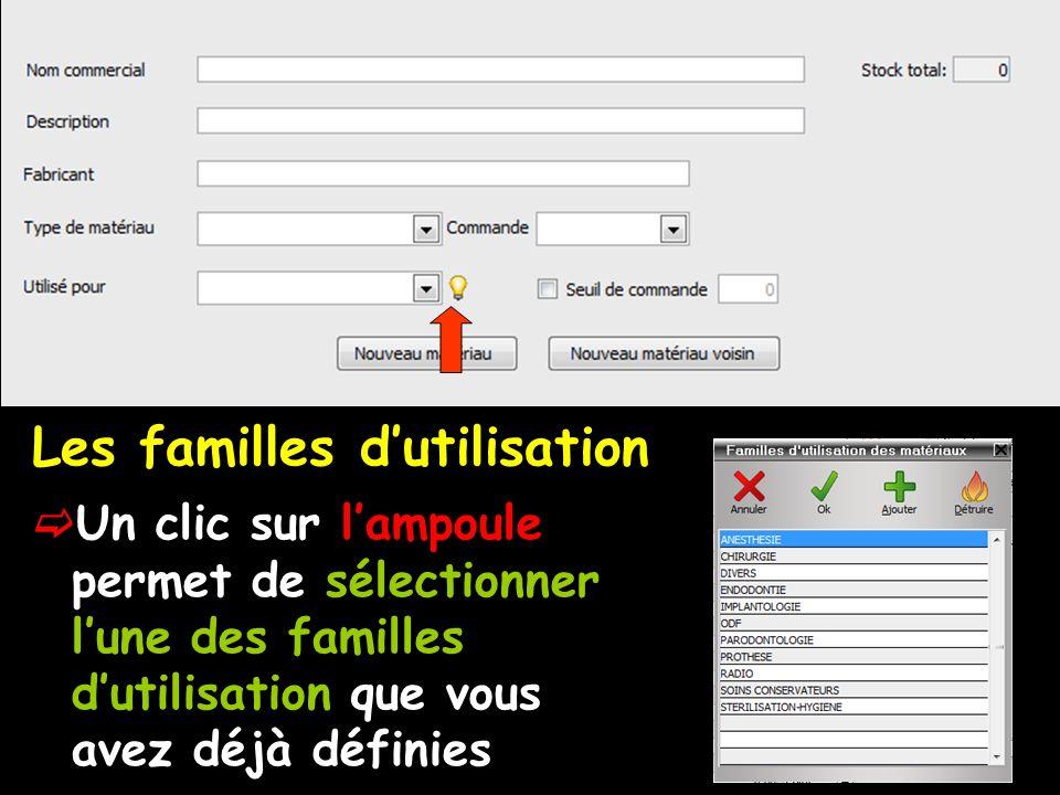 Les familles dutilisation Un clic sur lampoule permet de sélectionner lune des familles dutilisation que vous avez déjà définies