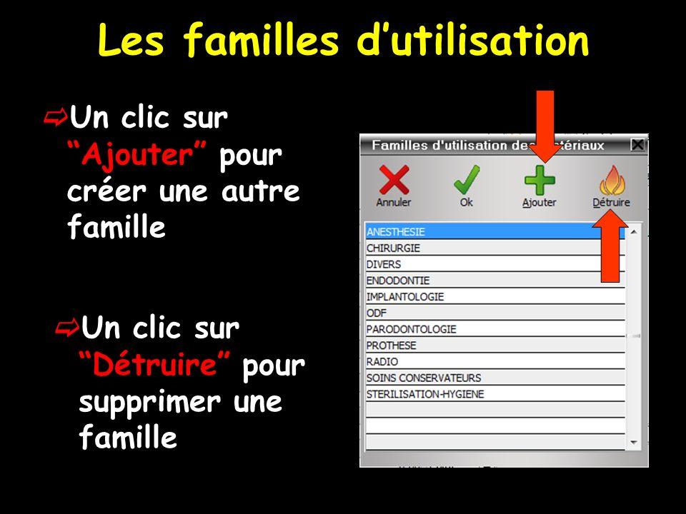 Les familles dutilisation Un clic sur Ajouter pour créer une autre famille Un clic sur Détruire pour supprimer une famille