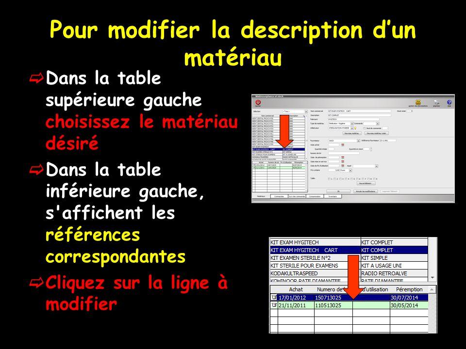Pour modifier la description dun matériau Dans la table supérieure gauche choisissez le matériau désiré Dans la table inférieure gauche, s affichent les références correspondantes Cliquez sur la ligne à modifier