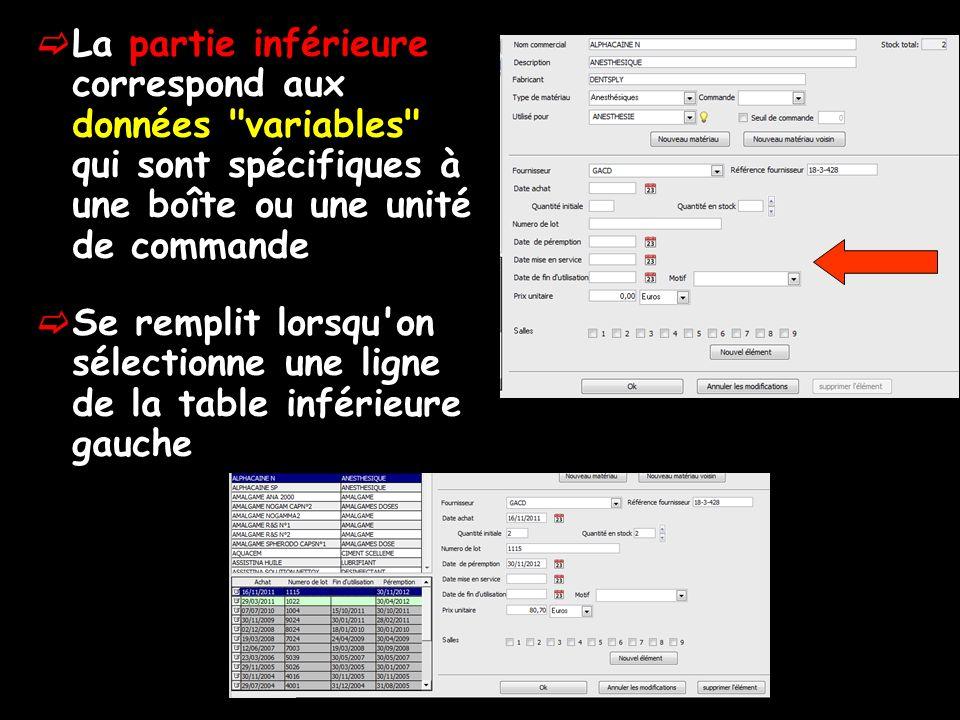La partie inférieure correspond aux données variables qui sont spécifiques à une boîte ou une unité de commande Se remplit lorsqu on sélectionne une ligne de la table inférieure gauche