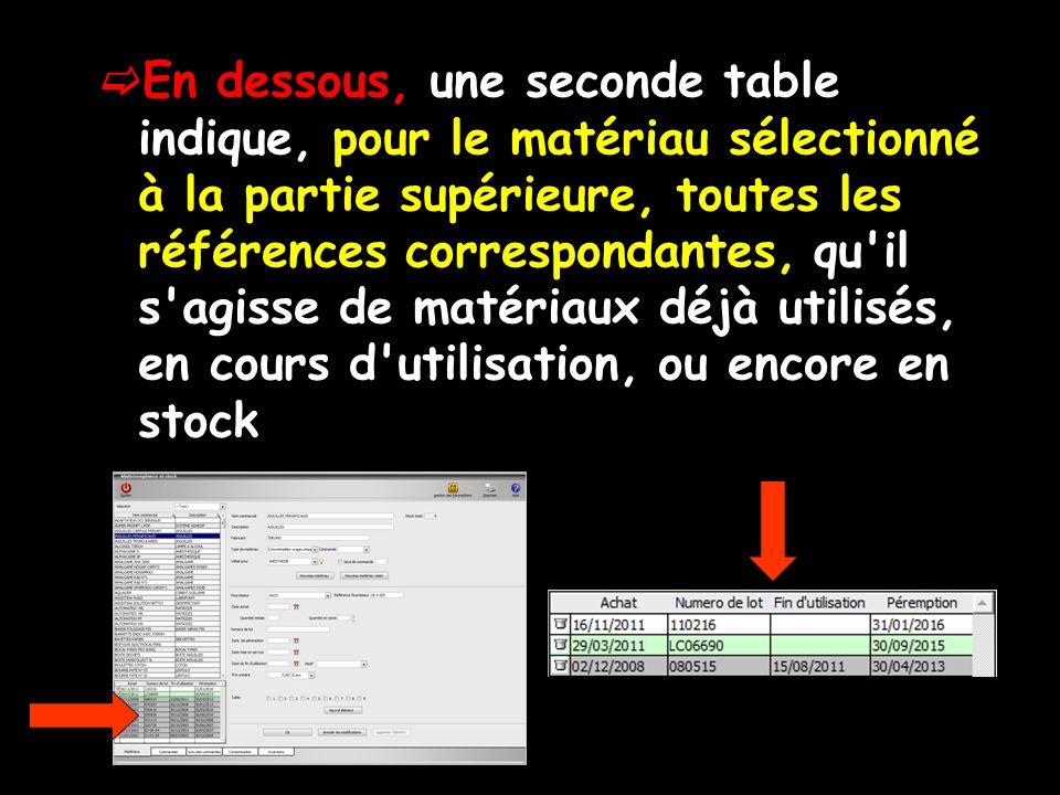 En dessous, une seconde table indique, pour le matériau sélectionné à la partie supérieure, toutes les références correspondantes, qu il s agisse de matériaux déjà utilisés, en cours d utilisation, ou encore en stock