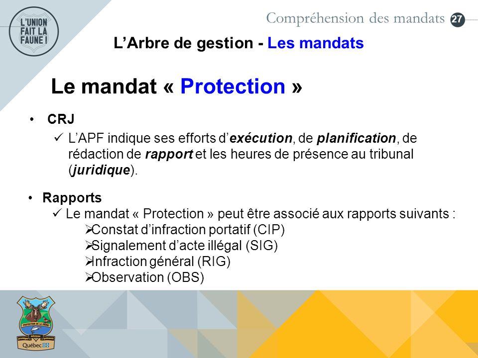 27 Le mandat « Protection » Rapports Le mandat « Protection » peut être associé aux rapports suivants : Constat dinfraction portatif (CIP) Signalement
