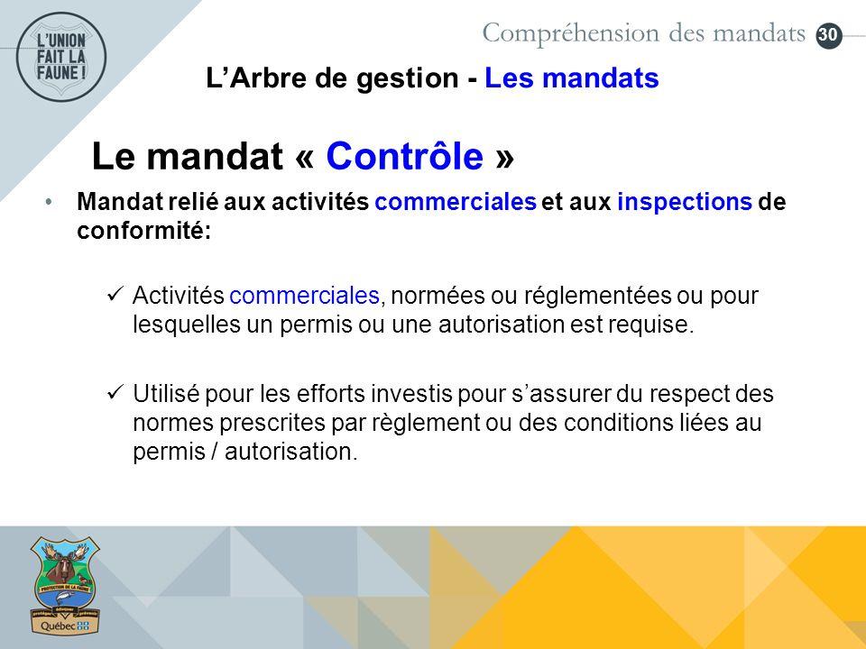30 Le mandat « Contrôle » Compréhension des mandats LArbre de gestion - Les mandats Activités commerciales, normées ou réglementées ou pour lesquelles