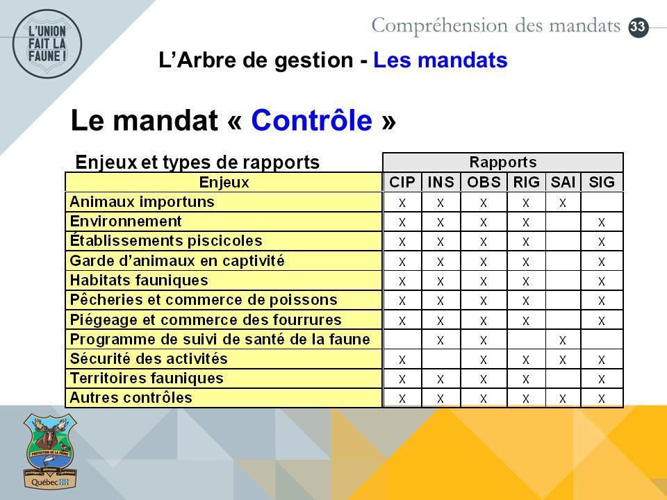 33 Enjeux et types de rapports Compréhension des mandats LArbre de gestion - Les mandats Le mandat « Contrôle »