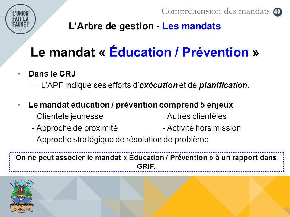 40 Dans le CRJ –LAPF indique ses efforts dexécution et de planification. On ne peut associer le mandat « Éducation / Prévention » à un rapport dans GR