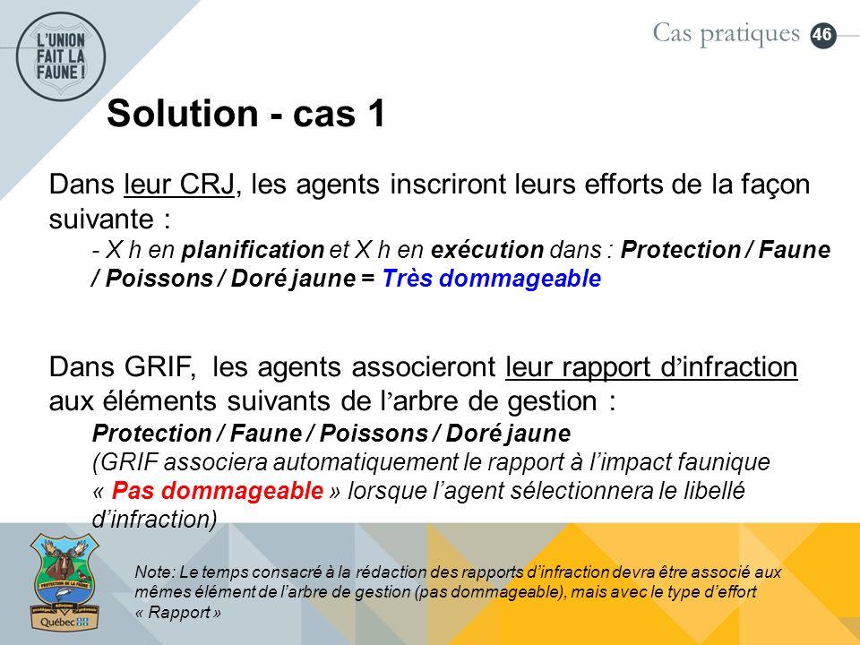46 Solution - cas 1 Dans leur CRJ, les agents inscriront leurs efforts de la façon suivante : - X h en planification et X h en exécution dans : Protec
