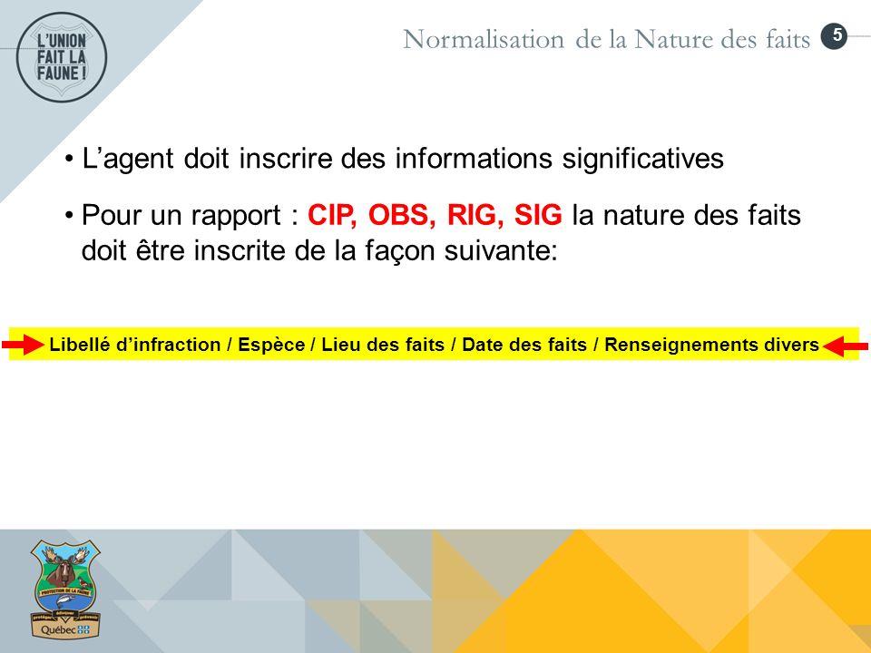 6 Normalisation de la Nature des faits Exemple: CIP ou RIG Exemple: OBS Exemple: SIG Libellé dinfraction / Espèce / Lieu des faits / Date des faits / Renseignements divers