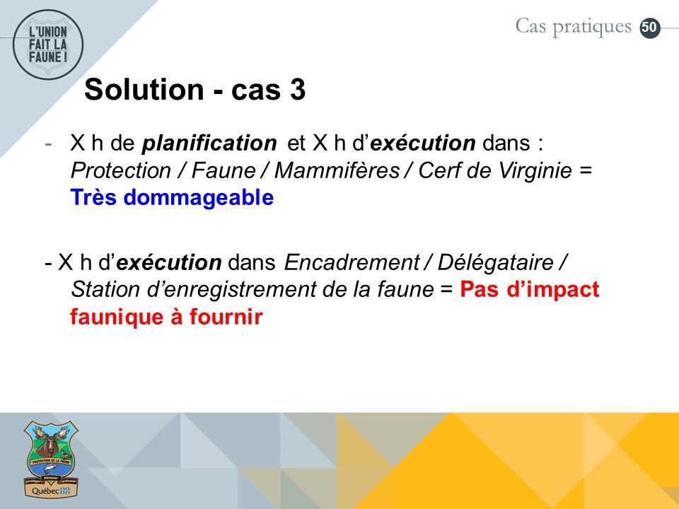50 Solution - cas 3 -X h de planification et X h dexécution dans : Protection / Faune / Mammifères / Cerf de Virginie = Très dommageable - X h dexécut