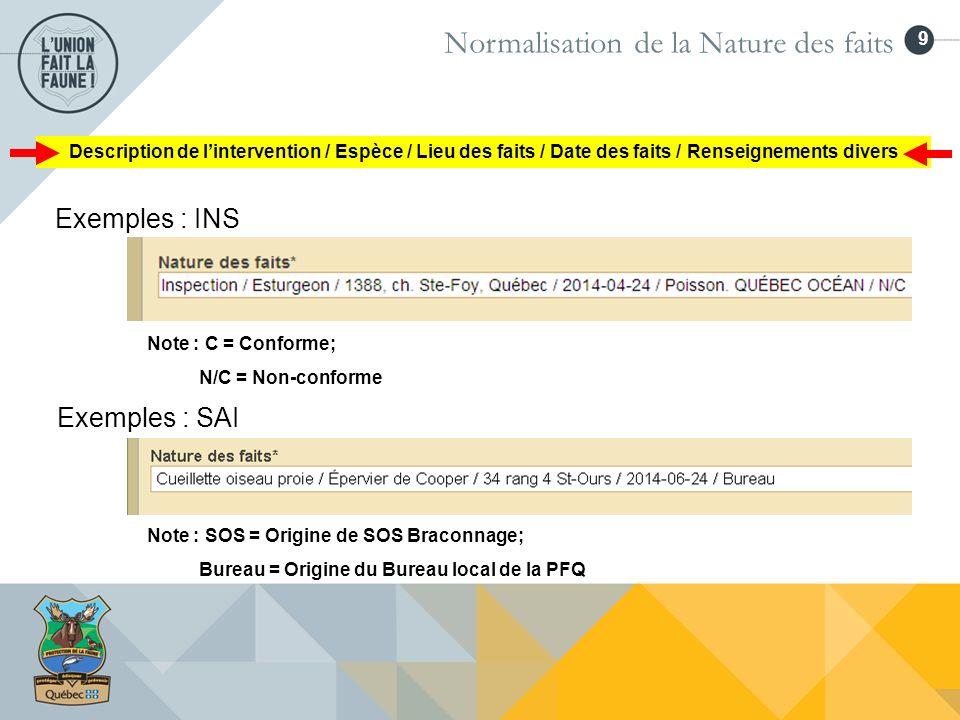 9 Normalisation de la Nature des faits Exemples : INS Exemples : SAI Note : C = Conforme; N/C = Non-conforme Note : SOS = Origine de SOS Braconnage; B