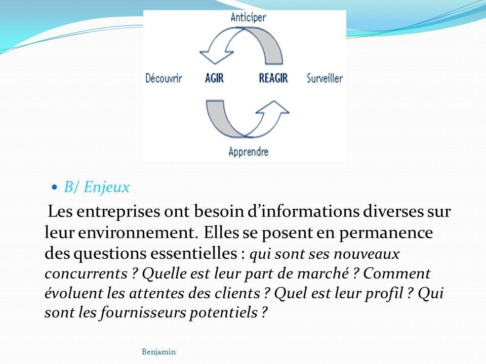 B/ Enjeux Les entreprises ont besoin dinformations diverses sur leur environnement.