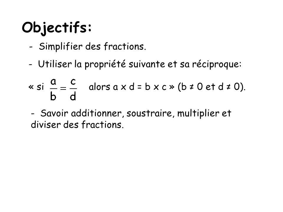 Objectifs: - Simplifier des fractions. - Utiliser la propriété suivante et sa réciproque: « si alors a x d = b x c » (b 0 et d 0). - Savoir additionne