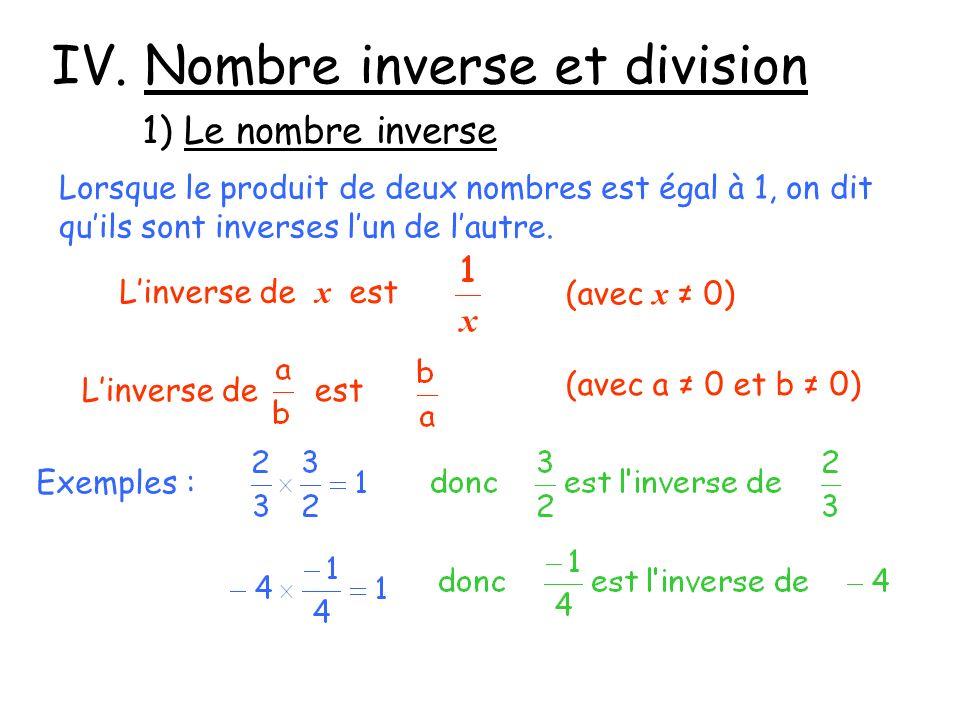 IV. Nombre inverse et division 1) Le nombre inverse Lorsque le produit de deux nombres est égal à 1, on dit quils sont inverses lun de lautre. Linvers
