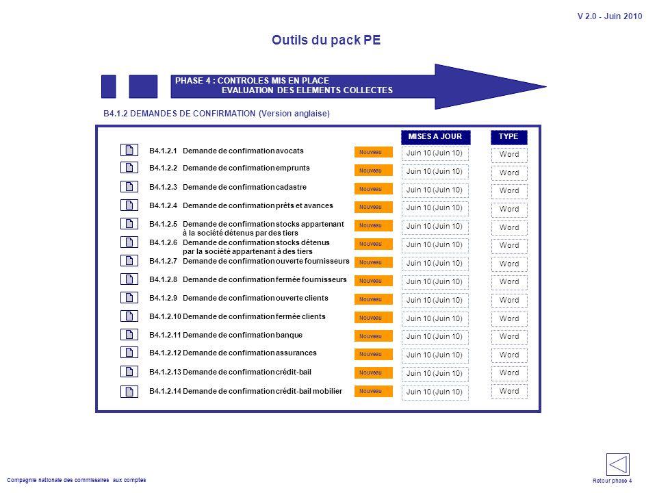 Compagnie nationale des commissaires aux comptes Outils du pack PE V 2.0 - Juin 2010 Demande de confirmation avocats PHASE 4 : CONTROLES MIS EN PLACE EVALUATION DES ELEMENTS COLLECTES B4.1.2.1 Juin 10 (Juin 10) B4.1.2 DEMANDES DE CONFIRMATION (Version anglaise) Word Demande de confirmation emprunts Juin 10 (Juin 10) Word B4.1.2.2 B4.1.2.3 B4.1.2.4 B4.1.2.5 B4.1.2.6 B4.1.2.7 B4.1.2.8 B4.1.2.9 B4.1.2.10 B4.1.2.11 B4.1.2.12 B4.1.2.13 B4.1.2.14 Demande de confirmation cadastre Demande de confirmation prêts et avances Demande de confirmation stocks appartenant à la société détenus par des tiers Demande de confirmation banque Demande de confirmation fermée clients Demande de confirmation stocks détenus par la société appartenant à des tiers Demande de confirmation ouverte fournisseurs Demande de confirmation fermée fournisseurs Demande de confirmation ouverte clients Demande de confirmation crédit-bail Demande de confirmation assurances Demande de confirmation crédit-bail mobilier Word Juin 10 (Juin 10) Nouveau Retour phase 4 TYPEMISES A JOUR