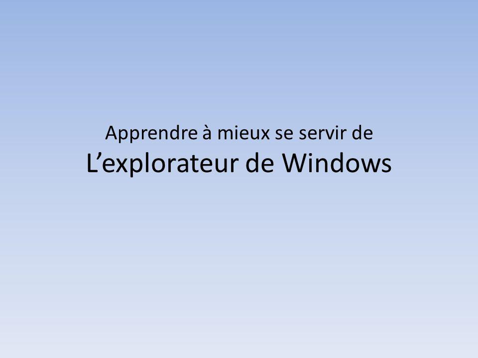 Apprendre à mieux se servir de Lexplorateur de Windows