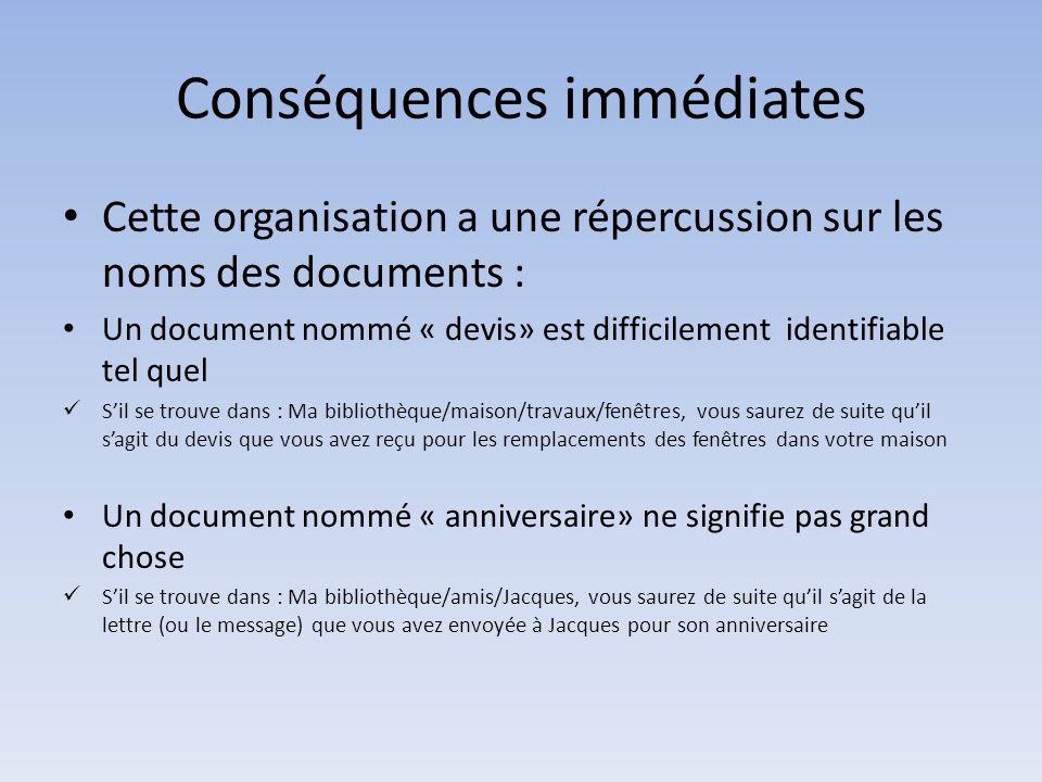 Conséquences immédiates Cette organisation a une répercussion sur les noms des documents : Un document nommé « devis» est difficilement identifiable t
