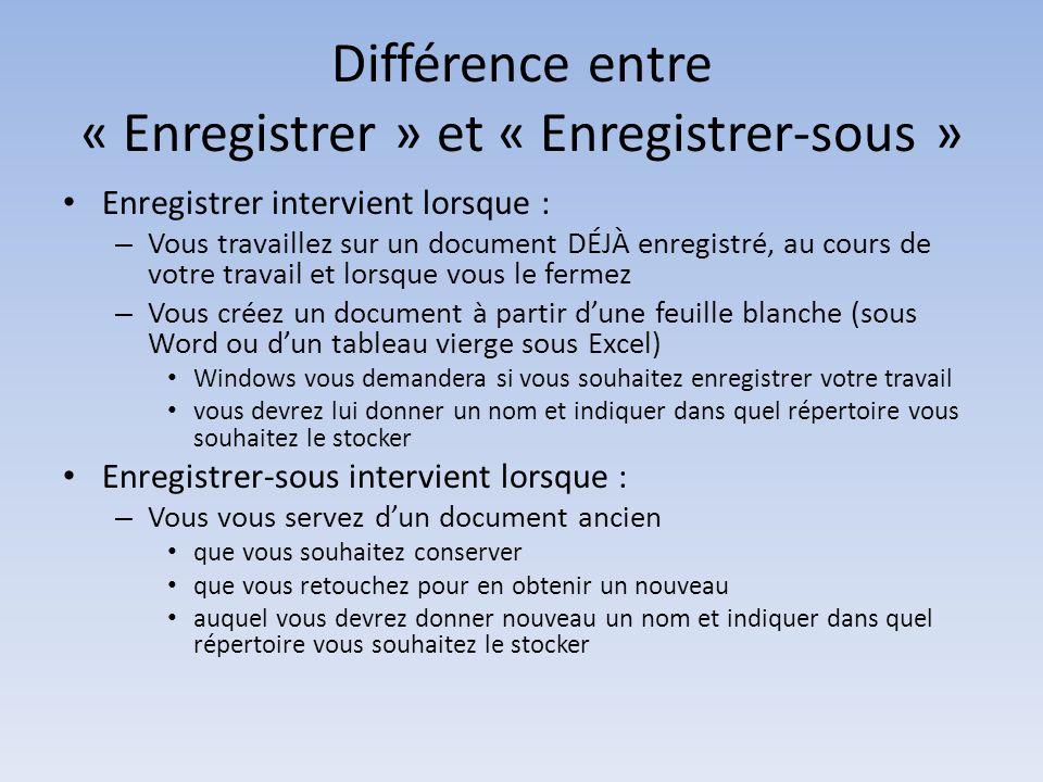 Différence entre « Enregistrer » et « Enregistrer-sous » Enregistrer intervient lorsque : – Vous travaillez sur un document DÉJÀ enregistré, au cours