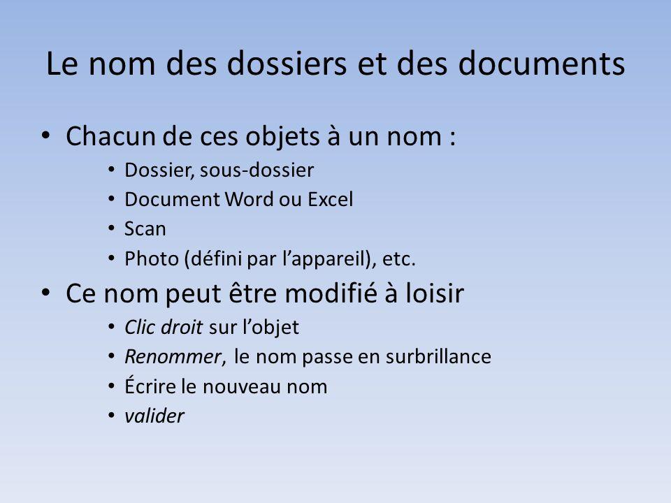 Le nom des dossiers et des documents Chacun de ces objets à un nom : Dossier, sous-dossier Document Word ou Excel Scan Photo (défini par lappareil), etc.