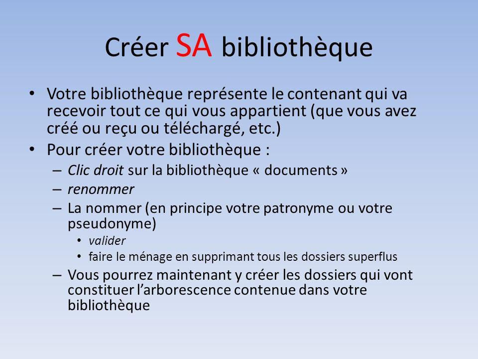 Créer SA bibliothèque Votre bibliothèque représente le contenant qui va recevoir tout ce qui vous appartient (que vous avez créé ou reçu ou téléchargé