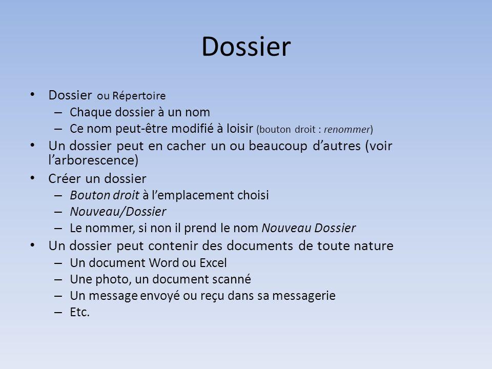 Dossier Dossier ou Répertoire – Chaque dossier à un nom – Ce nom peut-être modifié à loisir (bouton droit : renommer) Un dossier peut en cacher un ou