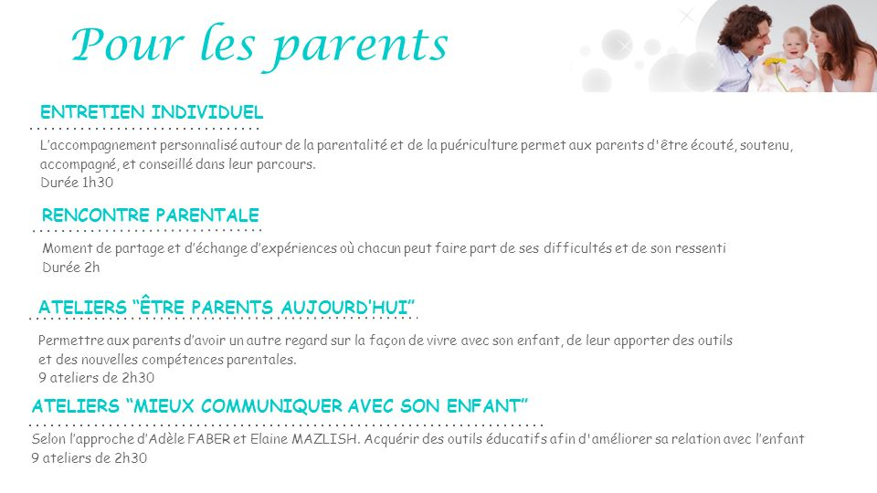 ENTRETIEN INDIVIDUEL Laccompagnement personnalisé autour de la parentalité et de la puériculture permet aux parents d'être écouté, soutenu, accompagné
