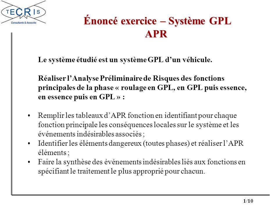 1/10 Énoncé exercice – Système GPL Énoncé exercice – Système GPLAPR Le système étudié est un système GPL dun véhicule. Réaliser lAnalyse Préliminaire