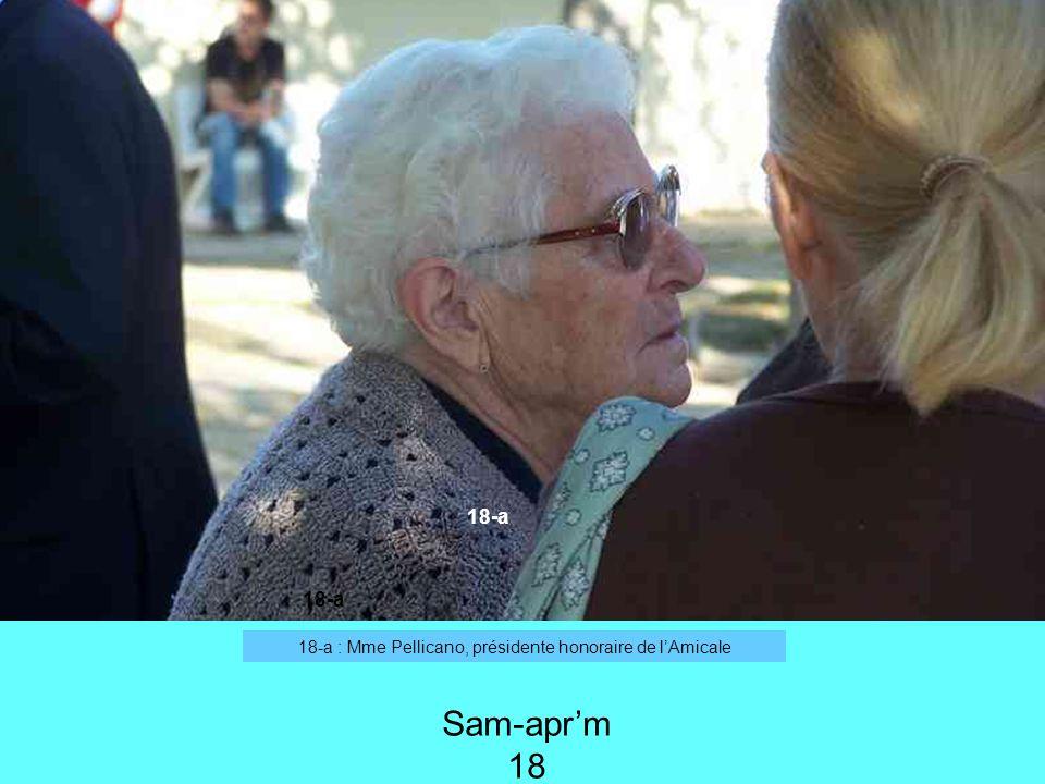 18-a : Mme Pellicano, présidente honoraire de lAmicale 18-a Sam-aprm 18