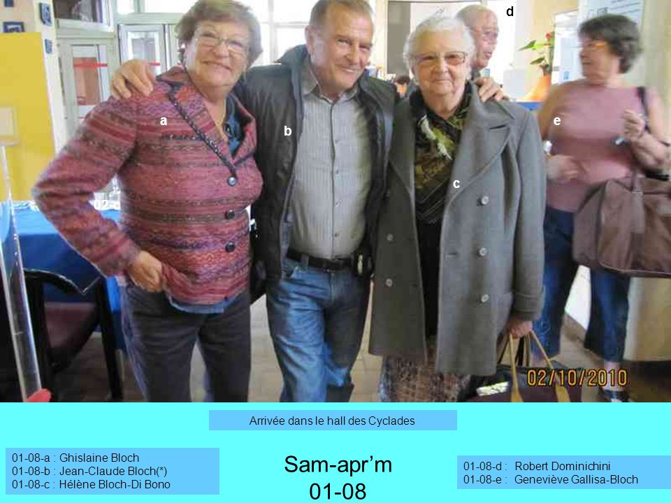 01-08-a : Ghislaine Bloch 01-08-b : Jean-Claude Bloch(*) 01-08-c : Hélène Bloch-Di Bono 02-c a b Sam-aprm 01-08 c e d 01-08-d : Robert Dominichini 01-