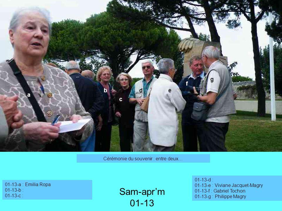 01-13-a : Emilia Ropa 01-13-b : 01-13-c : Sam-aprm 01-13 01-13-d : 01-13-e : Viviane Jacquet-Magry 01-13-f : Gabriel Tochon 01-13-g : Philippe Magry C