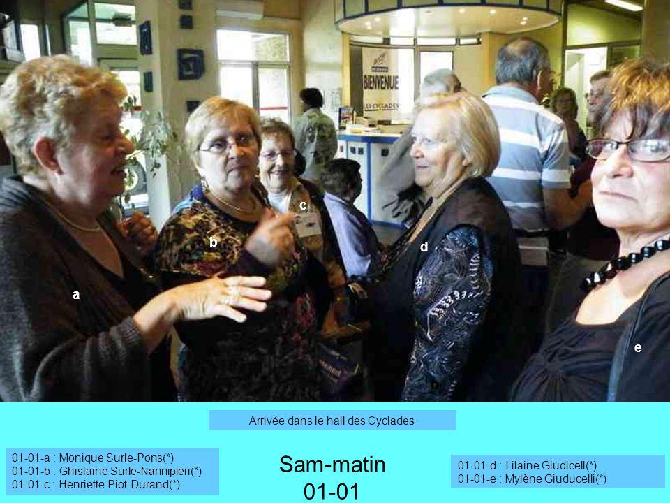 a b Sam-matin 01-01 Arrivée dans le hall des Cyclades 01-01-a : Monique Surle-Pons(*) 01-01-b : Ghislaine Surle-Nannipiéri(*) 01-01-c : Henriette Piot