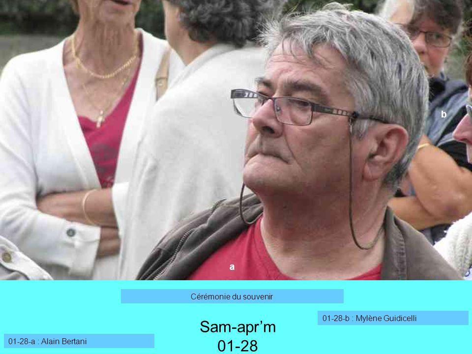 a 01-28-a : Alain Bertani 01-28-b : Mylène Guidicelli Sam-aprm 01-28 Cérémonie du souvenir b