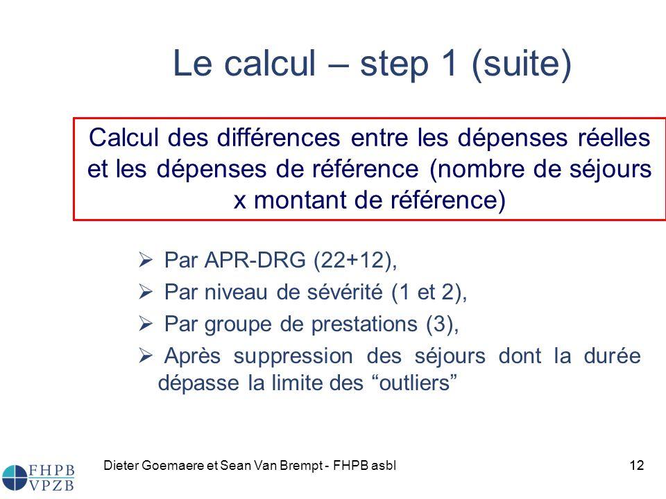 Dieter Goemaere et Sean Van Brempt - FHPB asbl12 Le calcul – step 1 (suite) Par APR-DRG (22+12), Par niveau de sévérité (1 et 2), Par groupe de prestations (3), Après suppression des séjours dont la durée dépasse la limite des outliers 12 Calcul des différences entre les dépenses réelles et les dépenses de référence (nombre de séjours x montant de référence)