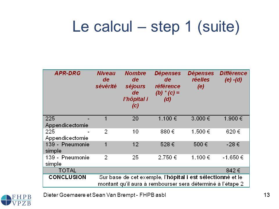 Dieter Goemaere et Sean Van Brempt - FHPB asbl13 Le calcul – step 1 (suite) 13