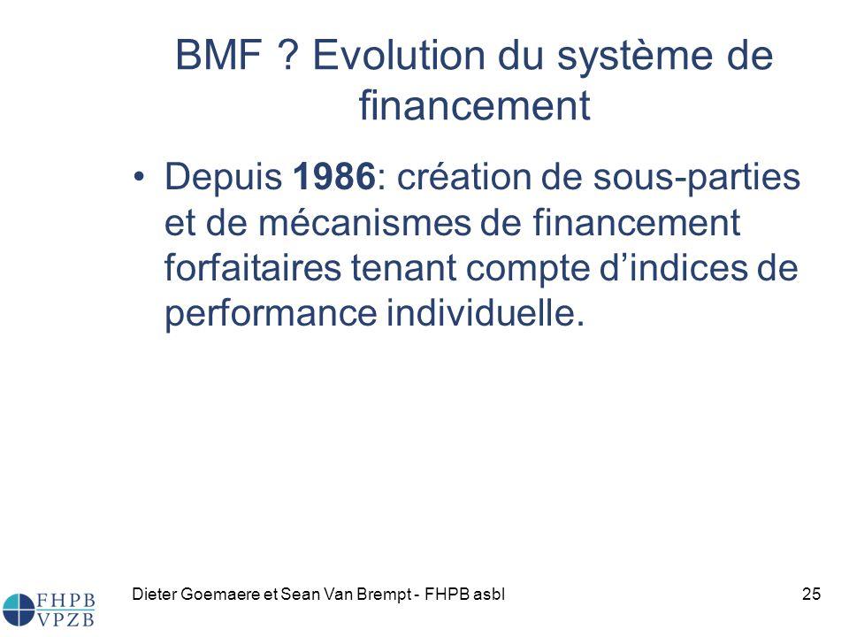 Dieter Goemaere et Sean Van Brempt - FHPB asbl25 Depuis 1986: création de sous-parties et de mécanismes de financement forfaitaires tenant compte dindices de performance individuelle.
