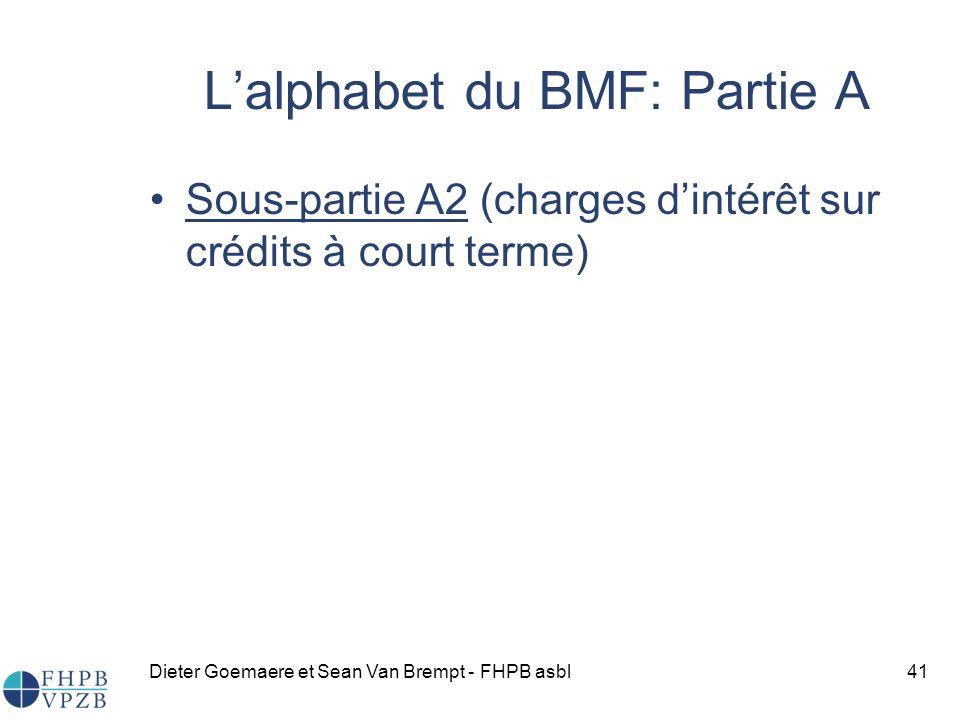 Dieter Goemaere et Sean Van Brempt - FHPB asbl41 Sous-partie A2 (charges dintérêt sur crédits à court terme) Lalphabet du BMF: Partie A