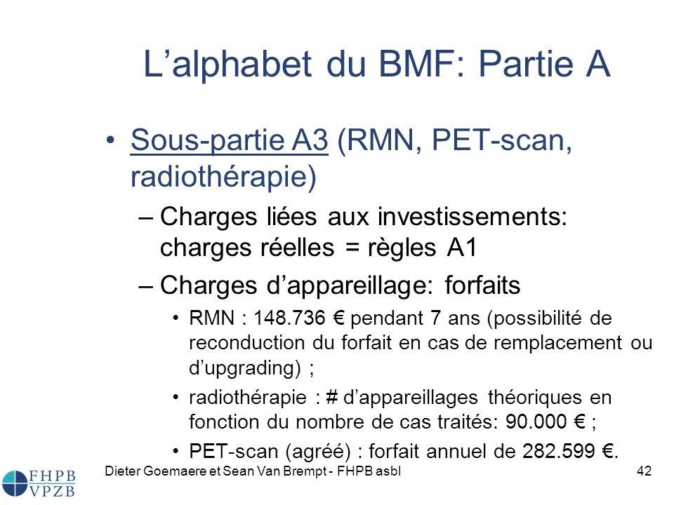 Dieter Goemaere et Sean Van Brempt - FHPB asbl42 Sous-partie A3 (RMN, PET-scan, radiothérapie) –Charges liées aux investissements: charges réelles = règles A1 –Charges dappareillage: forfaits RMN : 148.736 pendant 7 ans (possibilité de reconduction du forfait en cas de remplacement ou dupgrading) ; radiothérapie : # dappareillages théoriques en fonction du nombre de cas traités: 90.000 ; PET-scan (agréé) : forfait annuel de 282.599.