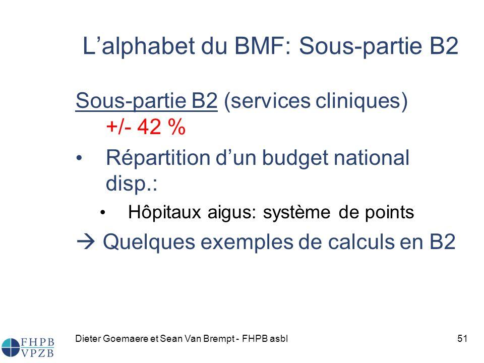 Dieter Goemaere et Sean Van Brempt - FHPB asbl51 Sous-partie B2 (services cliniques) +/- 42 % Répartition dun budget national disp.: Hôpitaux aigus: système de points Quelques exemples de calculs en B2 Lalphabet du BMF: Sous-partie B2